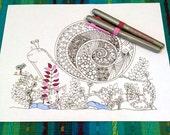 Snail Zentangle Adult Coloring Page Doodle Design Printable Instant Download Kids Animal Activity Woodland Art