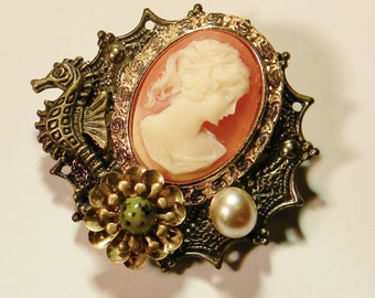 The Mermaid's Cameo Brooch Victorian Steampunk Pin Design Made with New and Vintage Materials