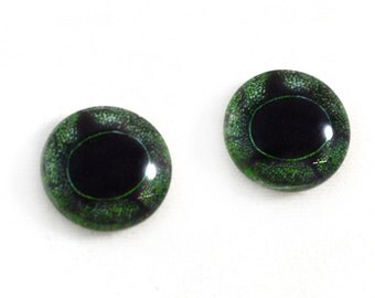 16mm Frog Glass Eye Cabochons in Green - Taxidermy Eyes for Doll or Jewelry Making - Set of 2