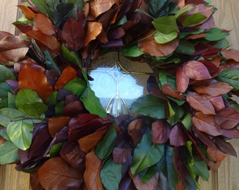 Preserved Lemon Leaf Wreath   Fall Wreath   Front Door Wreath  Preserved Salal Wreath   Elegant Wreath   Natural Wreath