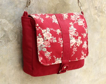 SALE Red Messenger bag with Floral flap, Canvas bag, Women, Shoulder bag, Crossbody, Travel bag, School bag, Cute, Detachable strap - Kiyomi