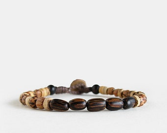 Mens Cheetah bracelet, wood, brown, beaded, button clasp, coconut