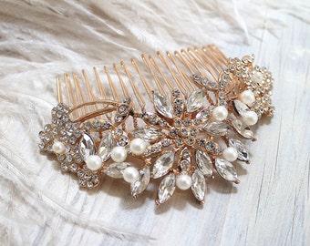 Bridal Rose Gold Crytal Pearl Hair Comb. Vintage Rhinestone Flower Jewel Wedding Headpiece. ROSANNE