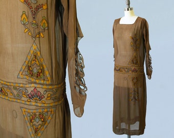 Reserved --RARE 1920s Dress / 20s EGYPTIAN REVIVAL Hand Painted Knotted Flapper Dress! / Cutout Sleeves! / Museum Quality