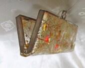 Vintage Eyeglass Case - 50s Retro Vinyl - Gold Confetti & Dried Flowers