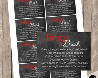 Chalkboard book instead of a card, book insert, chalkboard baby shower, book request  wl1 INSTANT DOWNLOAD
