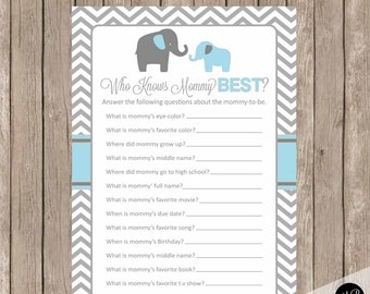 Baby Shower Game Who Knows Mommy Best, Elephant Theme Who Know Mommy Best  Game,