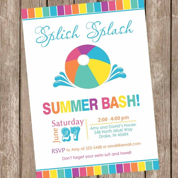 Bash Invitations Summer Bash Invitations Pool