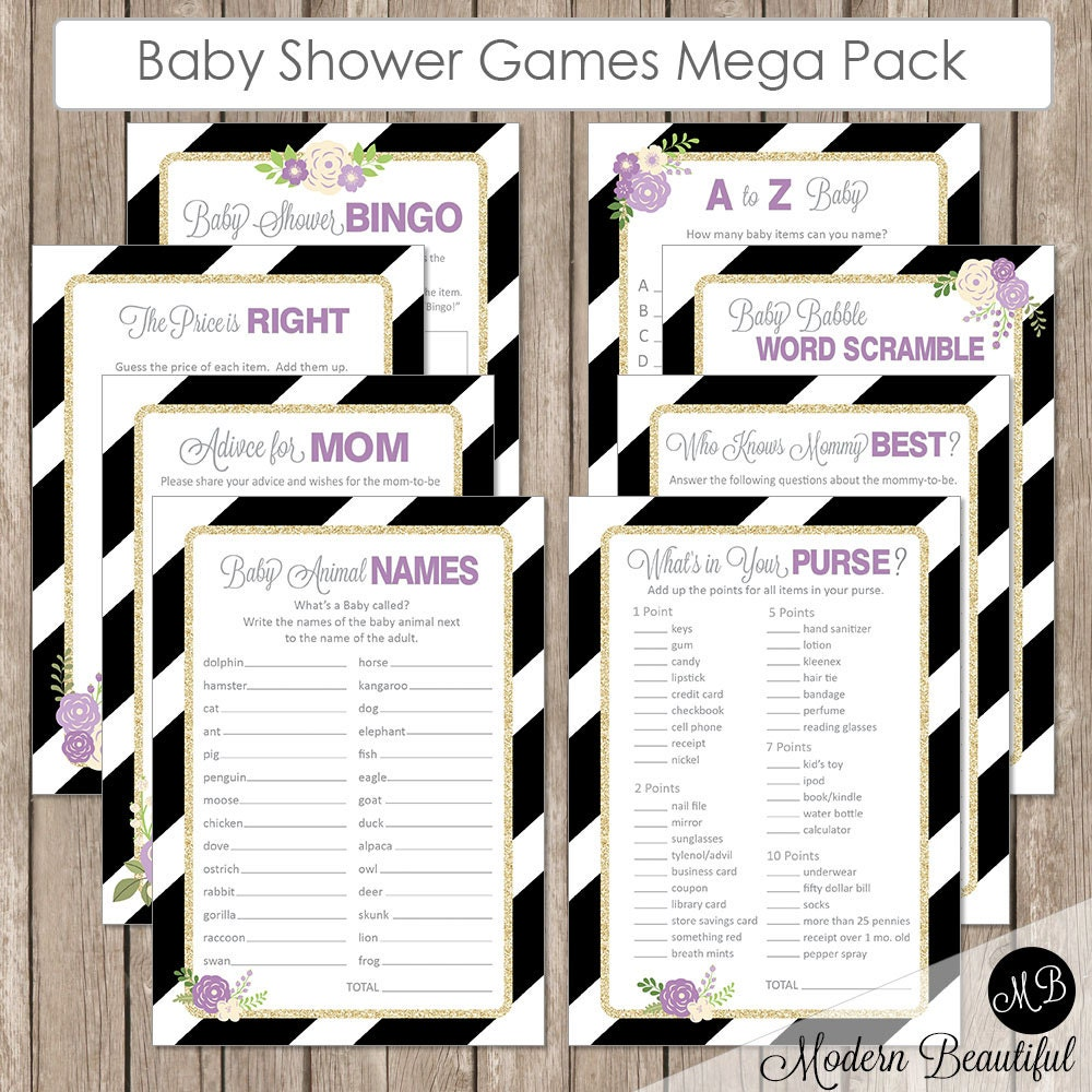 purple flower baby shower game pack bingo by modernbeautiful