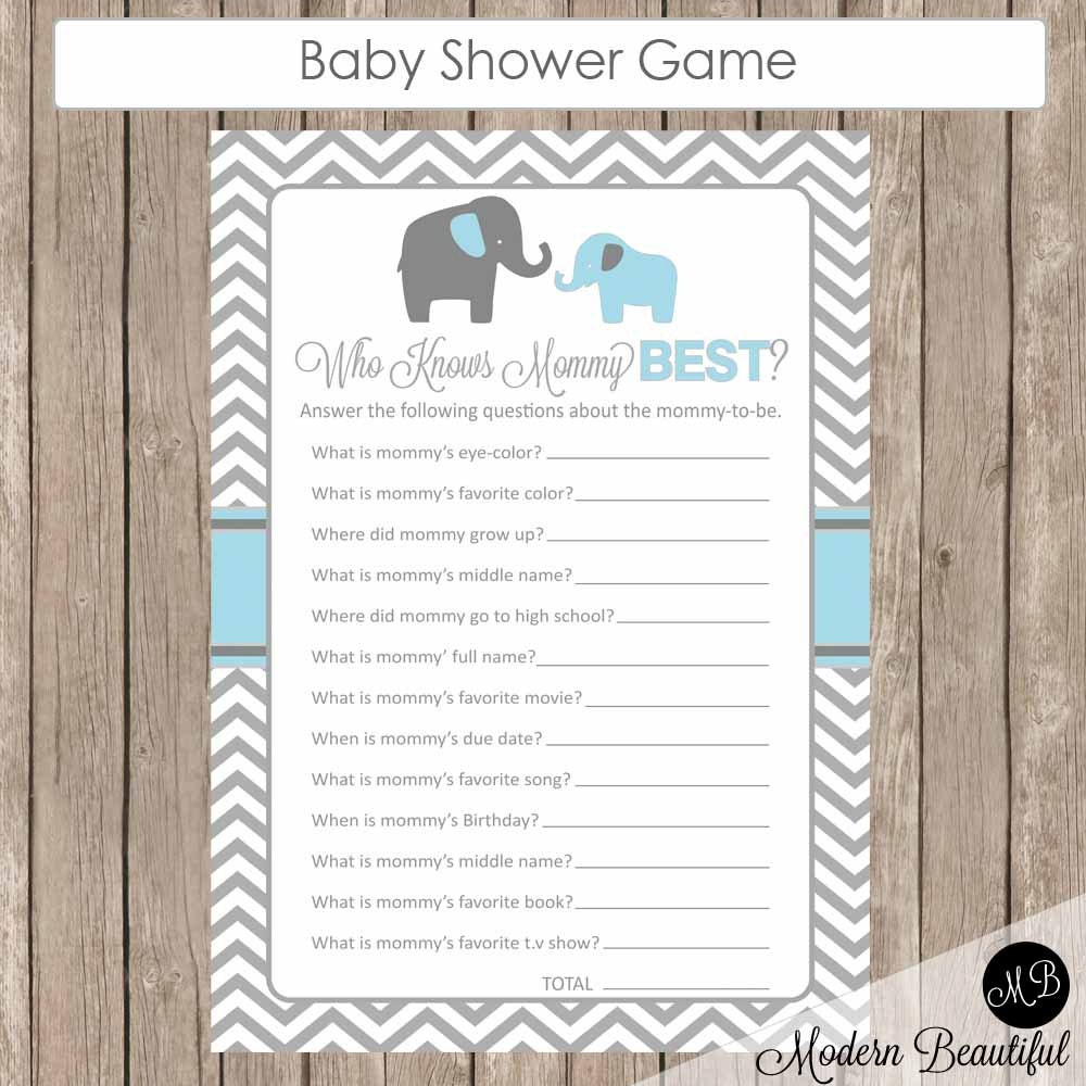 baby shower game who knows mommy best elephant theme who know