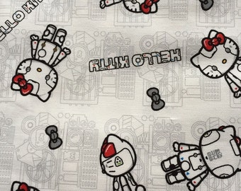 Hello kitty  fabric 1.5  yard White colour robot design fabric Special offer