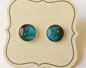 Titanium, Galaxy Earrings, BlueGreen, perfect for sensitive ears