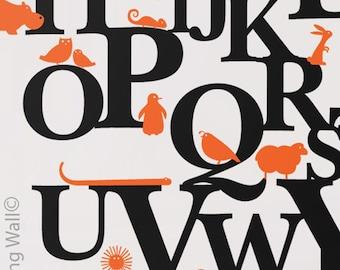 Alphabet Animals Decals, Vinyl Wall Sticker Decal Home, Alphabet Zoo Australian Made