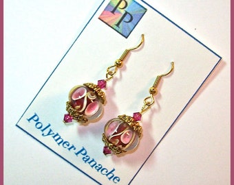 Cranberry Lampwork Earrings Handcrafted with Cranberry Crystals