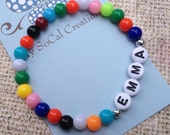 Multicolor Beaded Stretch Name Bracelet-Personalized Name Bracelet-White Letter Beads-ID Bracelet