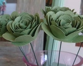 8 rolled paper roses on wire stems for Binaebi. Custom listing.
