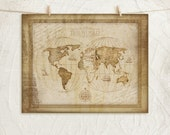 World Map -Tan - 11x14 Art Print - Inspirational, Country, Vintage, Home, Wall Decor - Continents, Compass -Tan, Brown