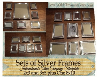 reduced vintage set of silver frames silver plated 2x3 photo 3x5 picture wedding table number set photo display 12 frame set