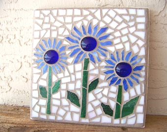 Mosaic Wall Art Mosaic Flowers Boho Decor Small Wall Art Stained Glass Mosaic Art Decorative Wall Decor Blue Home Decor Mosaic Wall Hanging