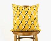 18x18 Outdoor Pillow Cover in Buttercup Yellow, white & Dark grey | Garden Trellis Decorative Pillow Case, Cushion | Spring Summer Decor