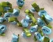 40pcs Blue Ribbon Rose Flowers For Headwear Decor Fashion Costume Supplies