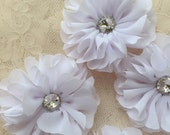 White Chiffon Flowers With Rhinestone 2.55 Inches Wide For Costume Headware Corsage Supplies 2pcs