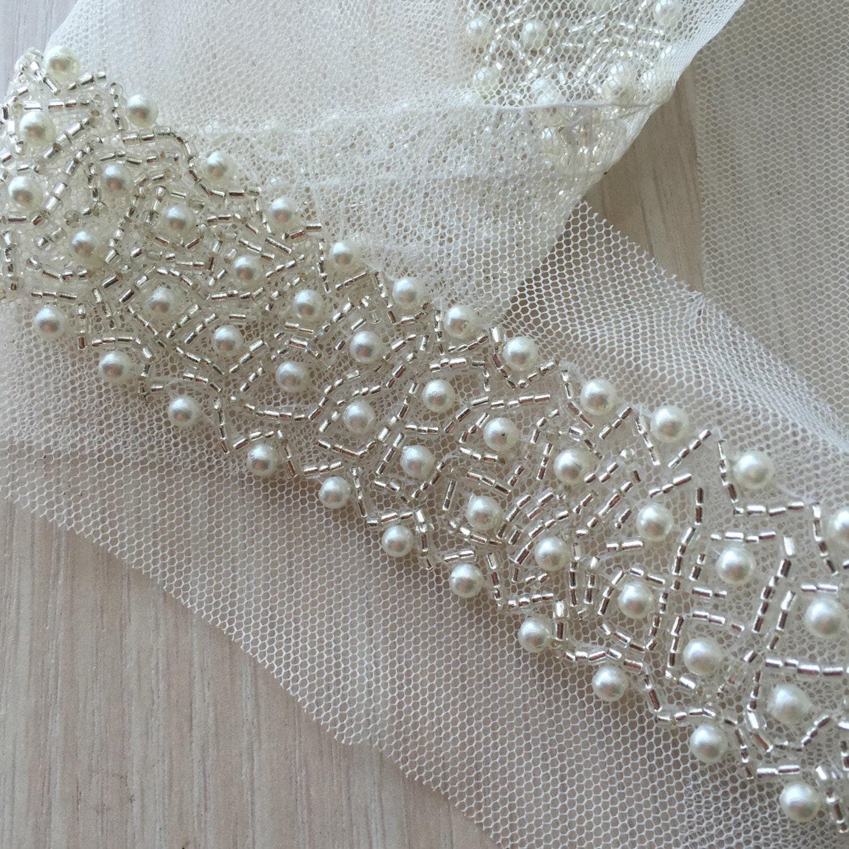 pearl beaded lace trim 0 9 yard for costume wedding dress belt