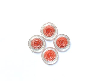 4 Glass Vintage Buttons, Red & Transparent