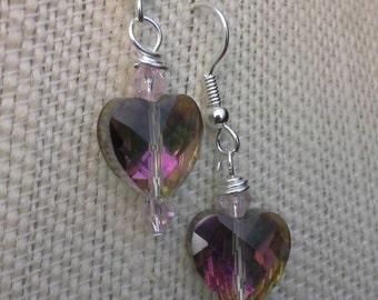 Crystal Heart Earrings with Pink Accents