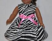 Handmade Black and White Zebra Print Dress and Ribbon Fits American Girl Doll