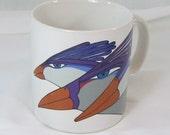 Vintage Laurel Burch Purple Peacocks Exotic Birds White Coffee Mug Cup