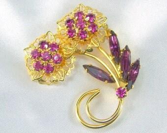 Vintage Brooch Purple Rhinestones Prong Set Gold Tone Filigree Flowers with Leaves
