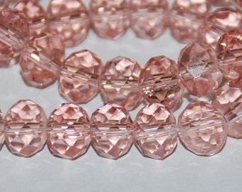 15 pcs 9x7mm Transparent Rose Pink Rondelle Crystals