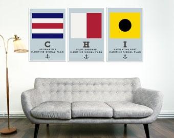 CHICAGO Art Prints, Nautical Flags, Home Decor, Flags, Anchor, Boating, Retro Print, Housewares, Typography Art, Housewarming Gift, Art