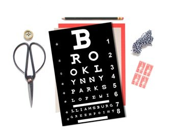 Eye Chart, BROOKLYN, NYC Poster, Typography Print, Art Poster, Modern Home Decor, City Map, Quote Art, New Home Gift, Housewarming Gift