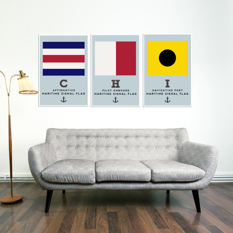 CHICAGO Art Prints Nautical Flags Home Decor Flags Anchor