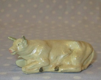 Antique Toy Cast Iron or Lead Large Cow Bull Steer Cattle Cream Color