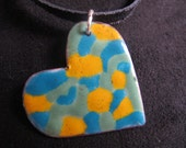 Heart necklace reversible colorful enamel pendant on adjustable cord, ooak, limited edition, two-in-one pendant