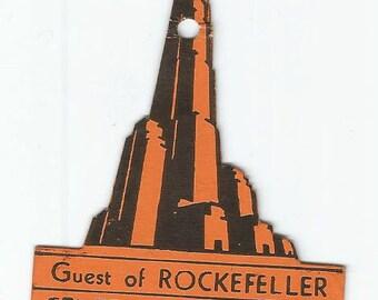 September 1940 Rockefller Center Guided Tour Badge Guest Badge