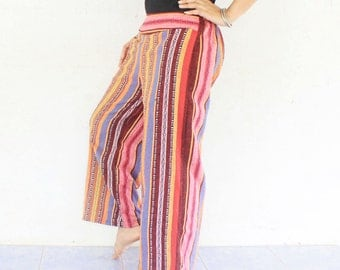 flowers in brown Thai tribal cotton print,elastic waist   pants , size S-M,boho pants,hippie pants,yoga pants