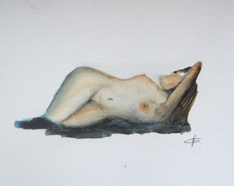 FREE SHIPPING - Original watercolor painting - nude female - figure painting - woman figurative sketch on paper