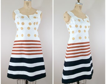 Vintage 1960s Summer Dress • Sundress • Polka Dot A-Line Dress • XS