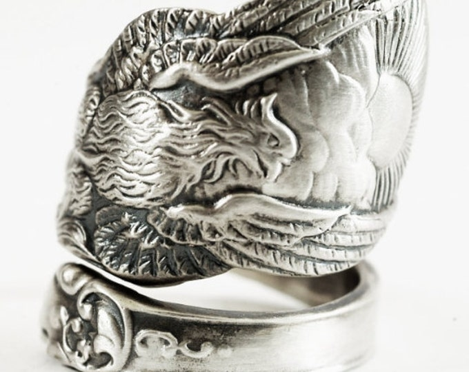 Phoenix Rising Ring, Large Sterling Silver Spoon Ring, Handmade Jewelry, Phoenix Wings, Pheonix, Gift for Him or Her, Adjustable Ring (6294)