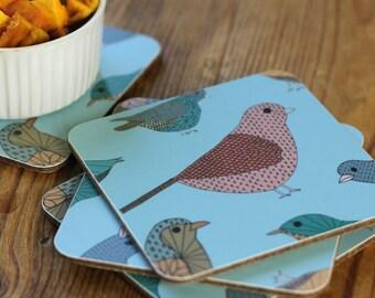 Colourful Birds Coasters set of four