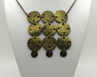 Multi-Circle Square Leather Necklace.