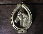 Vintage English horse shoe head door knocker brass circa 1950's / English Shop
