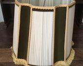 Vintage French large green velvet cream chiffon taffeta gold fringe lampshade lamp light shade circa 1960s / English Shop