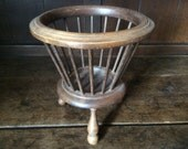 Vintage French wooden knitting wool holder basket plant pot holder planter circa 1930s / English Shop