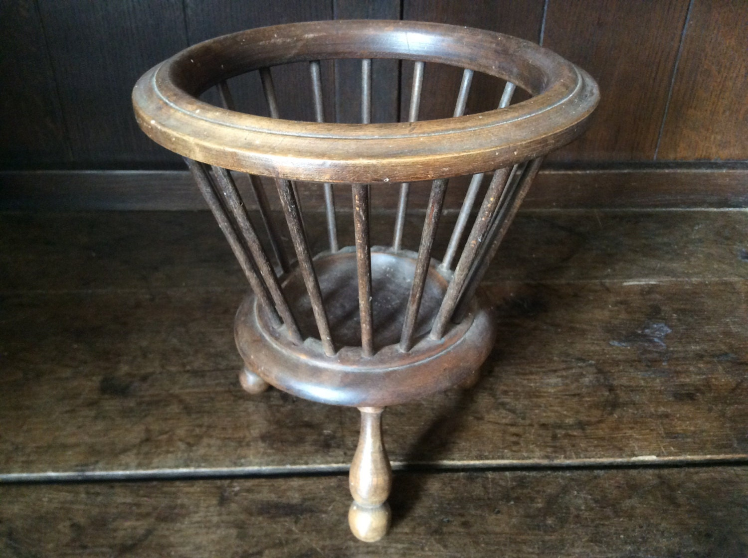 Wooden Knitting Wool Holder : Vintage french wooden knitting wool holder basket plant