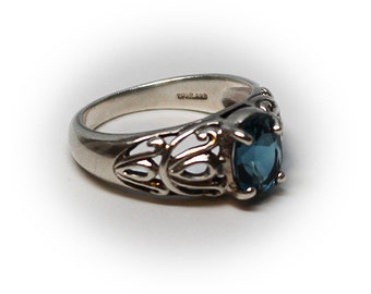 Sterling Silver Filigree Ring with Oval Cut London Blue Topaz Center Stone